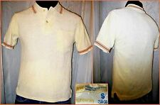 True 70s JCPenney's Men's XS Cream Terry Cloth Knit Brown Bands Polo Shirt~VGC