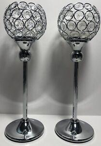 VINCIGANT Silver Crystal Tea Light Candle Holders Wedding Candelabra 2pcs