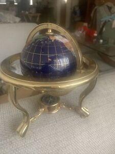 gemstone globe with metal stand, desktop world globe semi precious stones
