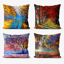 Abstract Scenery oil 4 Pieces Two Sides Printed Cushion Pillow Case Cover