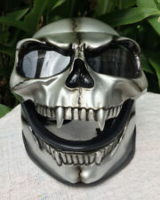 Motorcycle Helmet Skull Monster Death Visor Flip Up Ghost Rider Full Face Silver