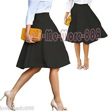 Women High Waisted casual Wear to Work PARTY PLAIN Flared Skater Skirt Dress 4XL