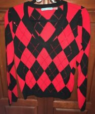 Alice + Olivia Argyle Vneck Sweater Black/Red Rhinestones Sz. S