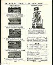 1921 ADVERT Hotz Blue Ribbon Hohner Marine Band Harmonica Boy Store Display