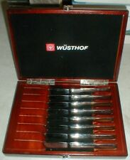 NEW Wusthof Trident 8-Piece Serrated Steak Knife Set & Cherry Presentation Case