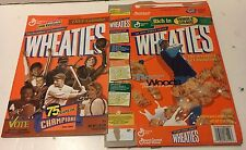 2 Different Empty Wheaties Boxes Tiger Woods Walter Payton Lou Gehrig