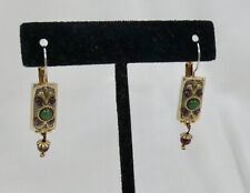 Michal Golan  Pierced Abstract Rectangular Cabochon Earrings Green Purple