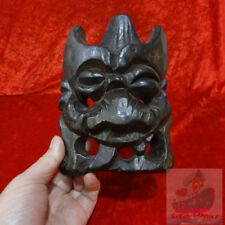 China Folk Wood Hand Carved Exorcising NUO MASK Walldecor - PanGu Deity(17x13cm)