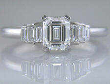 Diamond Ring Platinum Certified D Colour Flawless Emerald Cut Engagement 1.45ct