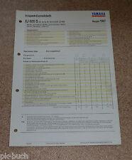 Inspektionsblatt Yamaha XJ 600 S Typ 4XL (25 KW) Baujahr 1997