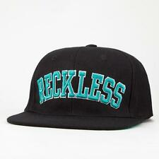 Young & Reckless Black Block Wool Blend Flat Bill Snapback Hat Ball Cap New NWT