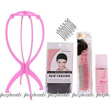 Wig Care Wig Stand Display Hanger Wig Cap Hair Net Wig Comb Care Solution Kit