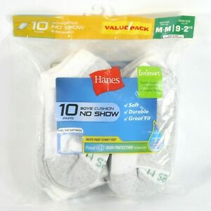 Hanes Boys' Cushion No Show Socks 10 Pairs - White Medium Shoe Size 9-2.5 - NEW
