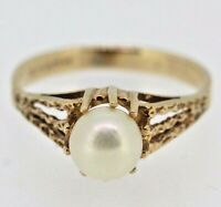 Gold Pearl Ring - 9ct Yellow Gold Cultured Pearl Ring Size K