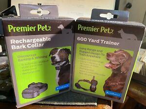 Premier Pets Recharge Bark Collar GBC00-16296 & 600 Yard Trainer GDT00-16645 NIB