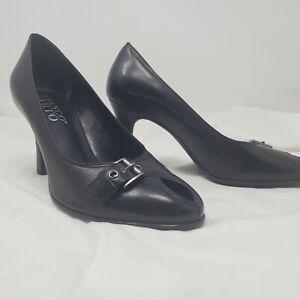 Franco Sarto 8M Black Leather Slip On Heel Shoe open peep toe silver buckle pump