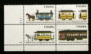 US Plate Blocks Stamps #2059-62 ~ 1983 STREET CARS 20c Plate Block of 4 MNH