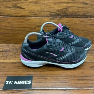 LA Gear Womens Walk-N-Tone Sneakers Shoes Black LA2062DW-1 Leather Lace Up 8.5M