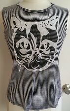 Happening Black & White Striped Knit Top With Pussy Cat Face Size M