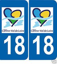 2 Autocollants style plaque d'immatriculation18 Val de Loire ex Région centre