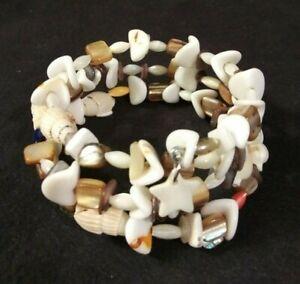 Handmade Memory Wire Shell Bracelet Neutral Colors Beach Theme