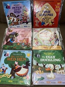 6 Walt Disney Read Along Books And Records Peter wolf, red riding hood, red hen