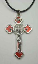 "St. Benedict Crucifix Nickel Plate - Red Enamel Pendant  w/ Cord 2 1/4"" n"