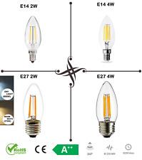 Bombilla LED E14 E27 ses es C35 2W 4W bombilla de luz blanca, Retro filamento cob vela