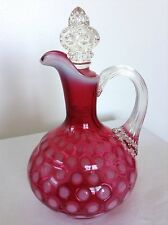 VINTAGE FENTON ART GLASS CRANBERRY OPALESCENT EYE DOT COIN DOT CRUET PITCHER