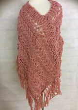 DUSTY PINK PONCHO CAPE THROW OVER ONE SIZE LOOSE KNIT