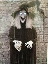 Halloween Props Animatronic Haunted House Spirit Decor Animated Witch Skull 72""