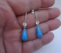925 STERLING SILVER LADIES TEARDROP TURQUOISE/DIAMOND DANGLING STUD EARRINGS