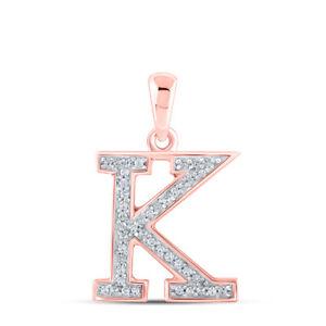 10kt Rose Gold Womens Round Diamond Initial K Letter Pendant 1/12 Cttw
