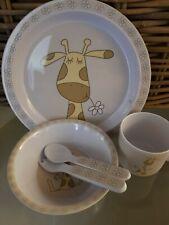 SIA Kids Frühstücksset Porzellan Giraffe Kunststoff weiss   NEU