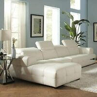 Coaster Darby Contemporary White Sectional Sofa with Wide Chaise and Adjustable