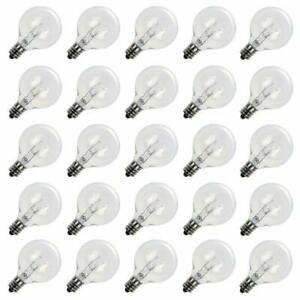 Clear 5W G40 Globe Incandescent Bulbs for Outdoor String Light Replacement Bulbs