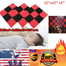 """48 Pack Acoustic Foam Panel Studio Soundproofing Wall Tile 12""""X12""""X1"""" Red BLACK"""