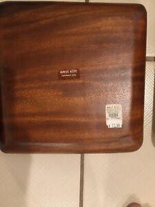 "NEW West Elm Acacia Hardwood Plate 9x9"" Set Of 4"