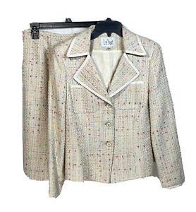 Vintage LE SUIT Womens Skirt Suit Size 8 Womens 2 Piece Tweed Boucle