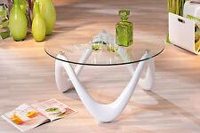 Table basse table de salon d´appoint design moderne plateau en verre pied BLANC