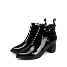 New Fashion Womens Pointed Toes Block Heels Patent leather Ankle Boots Shoes Sup