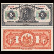Mexico 5 Pesos, 1913, P-S132a, banknote, AU-UNC