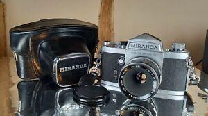 Miranda DR + 50mm f2.8 Lens. Vintage c.1962 35mm Film SLR + Case. Exc Condition