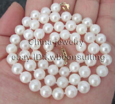 """P8133 - AAA 18"""" 7-7.5mm white perfect round sea water akoya pearl necklace - 14k"""
