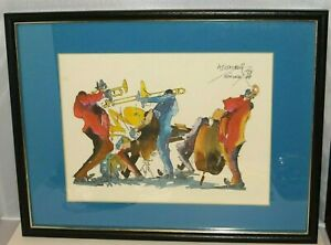 MEIERSDORFF NEW ORLEANS JAZZ MUSICIANS BAND '76 WATERCOLOR PRINTS Framed Signed