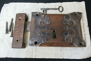 "Antique 9"" Gothic Wooden Church / Castle Lock, Key, Keep - Cast Iron"