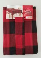 St Nicholas Square  Red & Black Buffalo Check Tablecloth Oblong 60 x 102 Holiday