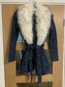 Ladies River Island Fur Collar Cardigan Size 10