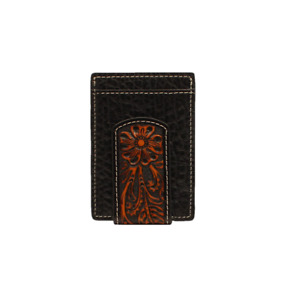 Nocona Men's Floral Overlay Black & Brown Money Clip Wallet N500004601