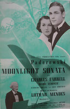 1937 PADEREWSKI PIANIST MOONLIGHT SONATA FILM PROMO TRADE ADVERTISEMENT/ POSTER